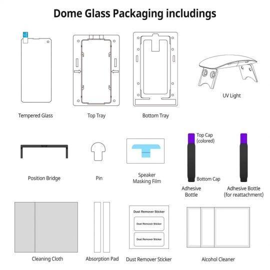 Original WHITESTONE DOME GLASS komplet sa UV lampom za GALAXY S20